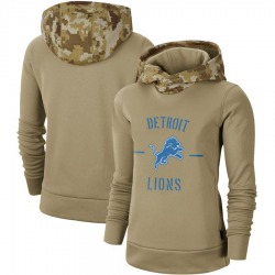 Women's Detroit Lions Khaki 2019 Salute to Service Therma Pullover Hoodie - Nike